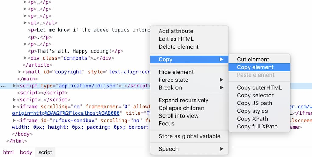 Copy the element with ChromeDevTools