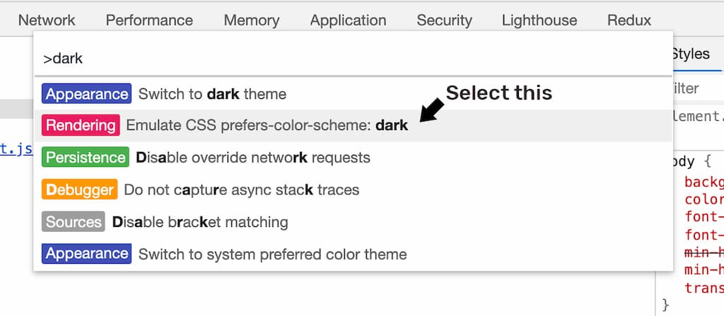 Emulate CSS prefers-color-scheme: dark