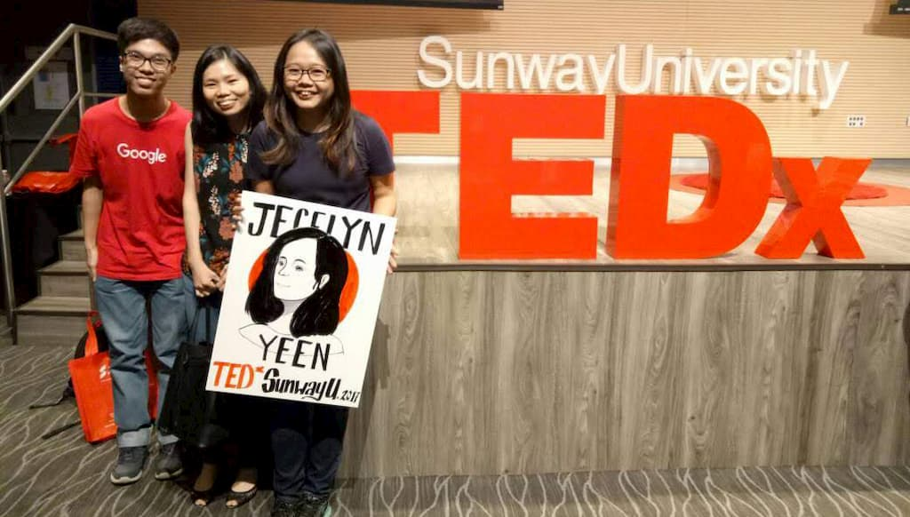 With my all-time supporters - Henry and Chee Yim and the drawing of me (that does not look like me, at all 😆)