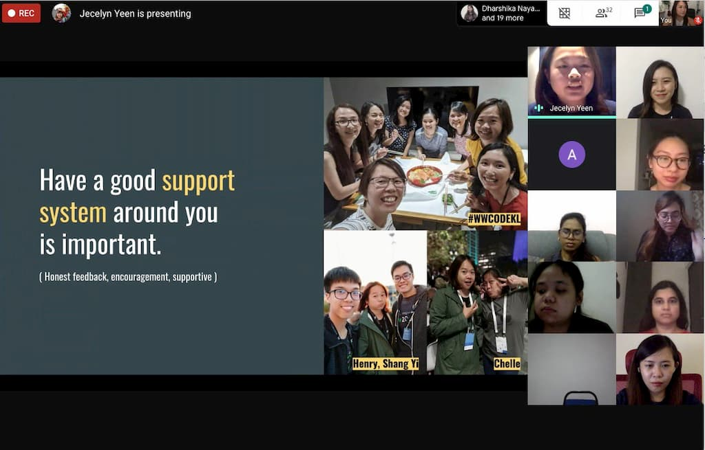 A screenshot during the WDA virtual graduation day